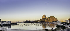 Rio de Janeiro showing off (shooterb9) Tags: sunset sea brazil moon mountain beach brasil riodejaneiro landscape rj outdoor pano sugarloaf podeacar errejota brasilemimagens