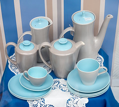 158/366. Vintage Poole Pottery  - 366 Project 2 - 2016 (dorsetpeach) Tags: blue coffee set grey retro 365 teaset 2016 366 vinate poolepottery aphotoadayforayear 366project second365project