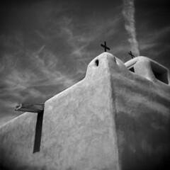 Talpa #1 (LowerDarnley) Tags: sky newmexico church holga religion crosses spanish adobe christianity taos talpa spanishlandgrant churchsanjuandeloslagos
