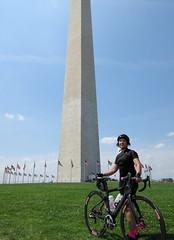 Sherry at Washington Monument (Mr.TinDC) Tags: friends people cyclists washingtondc dc sherry washingtonmonument
