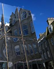Castlegate reflections 18 (Golux.) Tags: blue sky distortion reflection sunshine square mirror scotland artwork photographer distorted sunny reflected aberdeen installation granite castlegate