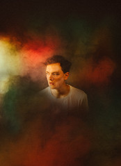 Lost in a cloud (Dexter Storey) Tags: light red portrait cloud color colour yellow fog youth photoshop self studio rainbow creative machine storey conceptual weeks dexter 52