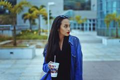 Blue Winter (TheJennire) Tags: camera blue winter light portrait people cold luz girl fashion scarf canon hair cores photography photo colours foto drink young makeup style colores mcdonalds jeans teen indie denim fotografia camara cabelo pelo cabello tumblr