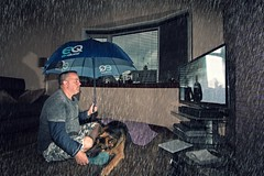 Rain TV 2 (Glesgaloon) Tags: dog silly rain photoshop gloomy artistic depressed germanshepherd daft alsation artisticselfie originalselfie
