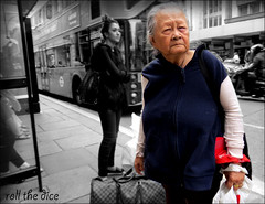 `1718 (roll the dice) Tags: london westminster westend oxfordstreet sale bargain w1 blackandwhite selective sad mad funny eyes asian china chinese streetphotgraphy fashion shops shopping happy people natural strangers portrait candid rude uk art classic urban unaware unknown england bags wisdom oap pretty sexy legs canon toursim blur speed roundel bus transport traffic magic effects peterjones bhs busstop old local worn aged wrinkled sun weather society