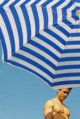 Umbrella (onbalcony) Tags: summer sky male umbrella joseph kodak stripe  contaxrx contax50mmf14 kodakcolorplus200
