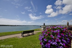 Milford haven (Explore) (Jason Davies Photography) Tags: flowers sky clouds bench landscape outdoors photography fisherman harbour outdoor seat wideangle bluesky explore views pembrokeshire milfordhaven sigma1020 pembrokeshirewales fishingindustry oilandgas sigmalenses nikonphotography mhpa nikond7000 jasondaviesphotography portofmilfordhaven