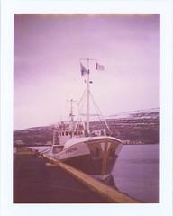 Boat in Akureyri (sycamoretrees) Tags: film analog polaroid iceland ship 690 expired sland akureyri landcamera packfilm model100 instantfilm automatic100 type100 expired2008 marianrainerharbach 690200808