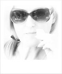 Making An Aperence (Missy Jussy) Tags: portrait bw woman selfportrait girl monochrome reflections mono blackwhite highkey mygarden selfie missyjussy justinestuttard