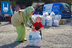 Ramadan food packages being distributed by Islamic Relief in Albania.