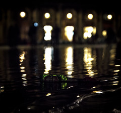 Lonely Beck's (Highwater in San Marco) (filippogatteschi) Tags: becks beer bottle birra green floating high water highwater acqua alta tide san marco venezia venice laguna lagoon canon eos 70d tamron 24 70 2470 photomerge collage night photography urban brand hidden advertisement handheld iso artificial light lamp reflections colors contrast italy square piazza travel tourism journey unexpected event june summer