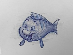 Flounder - The little mermaid (A. Elizabeth) Tags: blue pen ink sketch little disney mermaid flounder