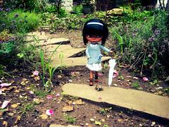 Walking the turtle ^_^ (Nina) Tags: flower rain umbrella garden outside doll outdoor blythe custom heathersky
