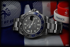 Euro 2016 / Rolex GMT Master II 116710 BLNR (Seb.04) Tags: blue red white black france macro canon foot euro steel watch master ii batman 100 mm rolex gmt 2016 116710 blnr