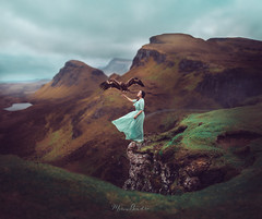 Into the Wilderness of Quiaring (Marina Gondra) Tags: marinagondra quiaring quiring sotland escocia scottish islyofskye skye highlands woman eagle guila wild landscape england conceptual