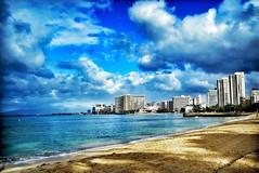 Shoreline (jcc55883) Tags: hawaii oahu waikiki waikikishoreline snapseed ipad ipadair sky clouds shadows sand ocean pacificocean