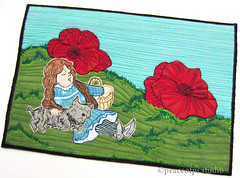 Dorothy in the Poppy Field (Jo : peaceofpi studio) Tags: canada fairytale dorothy paint handmade mixedmedia sewing poppy quilting fiberart wizardofoz toto textileart artquilt folktale pictoral miniquilt peaceofpi