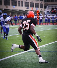 Hicksville Football (Kush0607) Tags: orange usa black sports grass weather canon photography football action nfl highschool freeze 7d athlete turf hicksvillehighschool