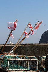 Fishermen Of England (Munki Munki) Tags: may sunny lobsterpots redandwhite staithes stgeorgesflag fishermenofengland
