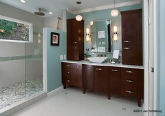 shower, vanity (SimoneFeldmanDesigns,LLC.) Tags: lighting glass stone tile bathroom shower doors floor mosaic vanity mirrors storage master granite suite caeser cabinets hardwood