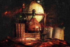 Wine and Dickens (dbnunley) Tags: red stilllife painterly bottle globe warm wine books dickens cask windowlight canoneos60d