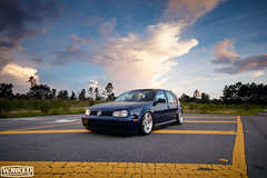 There's always time for a few photos. (Jacob Tompkins | Worked Photography) Tags: blue sunset sky glass vw clouds turn golf volkswagen amber nikon jeep florida wheels indigo headlights daily fl dual custom rims signal lowered dropped lenses slammed mkiv airlift bagged mk4 d90 accuair urotuning bagriders workedphotography