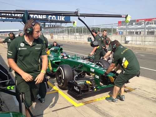 Will Stevens has a pit stop at Formula One Young Driver Tests