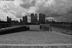 (and the moon rose) Tags: city urban blackandwhite london thames river landscape canarywharf riverthames northgreenwich