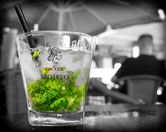 Mojito. (CWhatPhotos) Tags: pictures light blackandwhite costa sun white holiday black hot color colour reflection green water glass colors monochrome leaves bar reflections that de lens four photography mono blackwhite leaf spain warm colours foto view shot angle image artistic time drink pics juice euro fuerteventura low picture mint sunny down pic images september sugar have cocktail photographs photograph alcohol fotos rum lime sept canaries which sparkling studs contain selective hol caleta 2013 fuste cwhatphotos barstuds