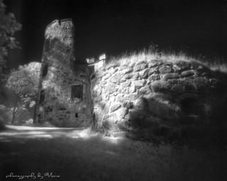 Eerie castle ruin in IR