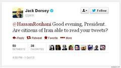 پرسش جک دورسی، بنیانگذار توئیتر از حسن روحانی پرسش جک دورسی، بنیانگذار توئیتر از حسن روحانی: عصر به خیر رئیس جمهور. آیا شهروندان ایرانی قادر به خواندن توئیت های شما هستند؟ این پرسش در شرایطی مطرح میشود که میلیونها نفر در ایران از دسترسی مستقیم به تویتر (Free Shabnam Madadzadeh) Tags: green love poster photo iran empty seat political pic ایران campaign arman sabz سبز سیاسی صندلی خالی زندانی کمپین zendani کبک jonbesh kabk22 آگاه