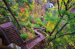 Stairs With a View (Doug Wallick) Tags: autumn wisconsin stairs view falls winding cascade osceola lightroom a55 mygearandme mygearandmepremium