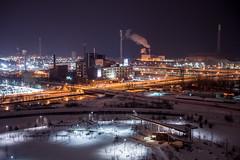... (BadPeter!) Tags: old bridge winter snow toronto cold night skyscraper factory zoom victory steam silo east nighttime smokestack mills soya distillery panam hearn redevelopment portlands korex rooftopping
