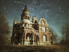 TOWER of DREAMERS (FotoEdge) Tags: city winter shadow red storm tower castle sunshine sign stone clouds corner vintage landscape geotagged town moving tv ancient midwest downtown unitedstates bricks memories rusty windy olympus gritty haunted textures missouri porch americana ghosts antiques roadside warnings crusty relics rivertown treasures saintjoseph omd winterlight crumbling relic swirling ghostsign sentinels em1 streetside rustycrusty stjoe midwestern rustscape midwesttowns fotoedge nwmissouri wwwfotoedgecom midwesternsky bobtravaglione midwesternserenade flickrandroidapp:filter=none omdem1 hillsoftime copyright©2014