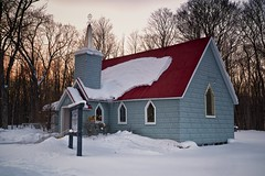 holy trinity anglican church, st. joseph island (twurdemann) Tags: winter sunset snow ontario building leaves weather architecture backlight rural forest clapboard snowcovered anglicanchurch northernontario holytrinitychurch redroof metalroof woodframe stepple stjosephisland colorefex niksoftware tonalcontrast circa1882 darkenlightencenter brilliancewarmth highway548 jocelyntownship
