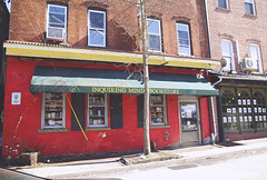Inquiring Minds Bookstore (Melissa O'Donohue) Tags: red ny newyork tree shop store books bookstore read upstatenewyork quaint newpaltz hudsonvalley ulstercounty inquiringmindsbookstore