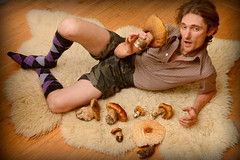 Just a night in with a fresh prince and porcinis, Oakland, California (Damon Tighe) Tags: california ca portrait selfportrait mushrooms oakland bay funny humorous humor prince fungi area bolete