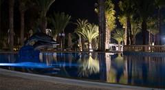Night Palm (Patrick Costello) Tags: pool night reflections hotel tunisia hammamet nabeul riupalace