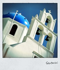 Church Under Blue Sky (hellwi) Tags: blue sky church bells square polaroid greek sommer himmel santorini frame griechenland rahmen blauer quadratisch glocken hellwi freizeitknipser