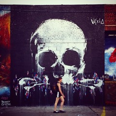 Because She Could Not Stop For Death (Joe Shlabotnik) Tags: cameraphone brooklyn skull graffiti mural bushwick 2014 faved instagram galaxys5 june2014