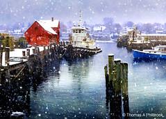 Motif With Tugboat - Take 2 (Thomas Philbrook) Tags: winter snow tugboat rockport motifno1 motif1 bearskinneck rockportmassachusetts bradleywharf