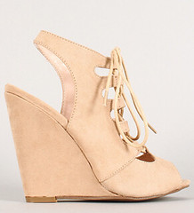 "suede cut out lace up open toe wedge natura • <a style=""font-size:0.8em;"" href=""http://www.flickr.com/photos/64360322@N06/16351550555/"" target=""_blank"">View on Flickr</a>"