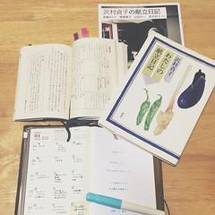 今週の献立日記の見直し。 急性胃腸炎のせいで前半はおかゆやらヨーグルトやら…。 後半はベーグルブームのせいでベーグルが続く。 またまた読み返す沢村貞子さんの「わたしの献立日記」。 献立日記をサボりそうになったら振り返って何度もページを開くので、ページがバラバラになってきた。 #献立日記 #献立ノート #沢村貞子 #わたしの献立日記 #トラベラーズノート #travelersnotebook