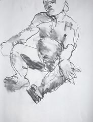Chuck - 5 minute lefthand 2 (bondst24) Tags: charcoal chuck malenude charcoaldrawings