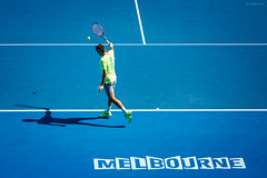 Australian Open 2015 - Day 3 (ljology) Tags: blue sun net yellow ball court neon atp australia melbourne nike tennis wilson match win volley wta backhand australianopen grandslam rogerfederer 2015 forehand rodlaverarena ljology