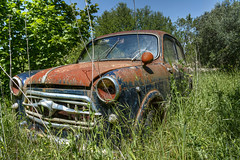 Forgotten Treasures (Vittorio.DellErba) Tags: blue trees red wild italy color green abandoned broken nature grass yellow vintage lights spring nikon rust italia day shadows outdoor machine hdr d7100