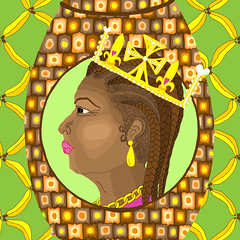 black queens head (lovebadchild) Tags: art illustration photoshop drawing royal queen bananas pineapple crown illustrator royalty colouring queenelizabeth flickrart blackqueen blackartist missbadchild blackexcellence