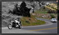 July 8 2012 - Motorcyclists spreading sunshine on the mountain (lazy_photog) Tags: mountain photoshop photography big harley lazy motorcycle wyoming horn waving davidson elliott photog switchbacks twistys worland