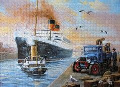 Maiden Voyage (pefkosmad) Tags: uk england painting ship transport hobby quay puzzle nostalgia lorry leisure jigsaw launch loading pastime maidenvoyage kevinwalsh mauretania spacesavingbox otterhouseltd