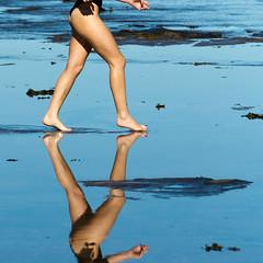 Walking on water 2 (Mikey Down Under) Tags: woman sun black reflection beach water pool girl beautiful rock swim model legs walk australian swimmer aussie swimsuit walkonwater